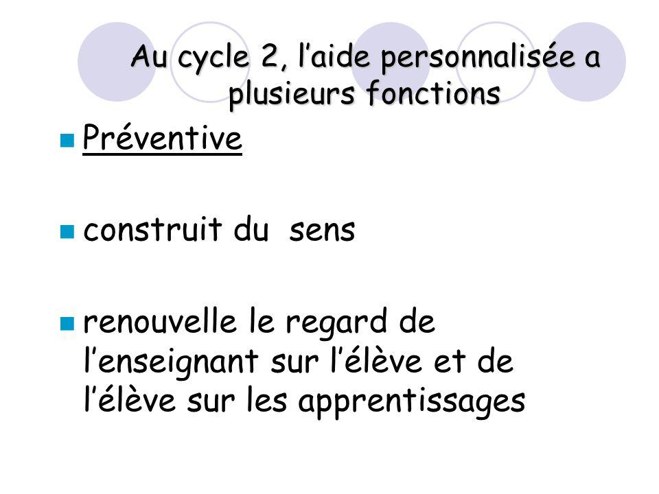 Au cycle 2, laide personnalisée a plusieurs fonctions Préventive construit du sens renouvelle le regard de lenseignant sur lélève et de lélève sur les