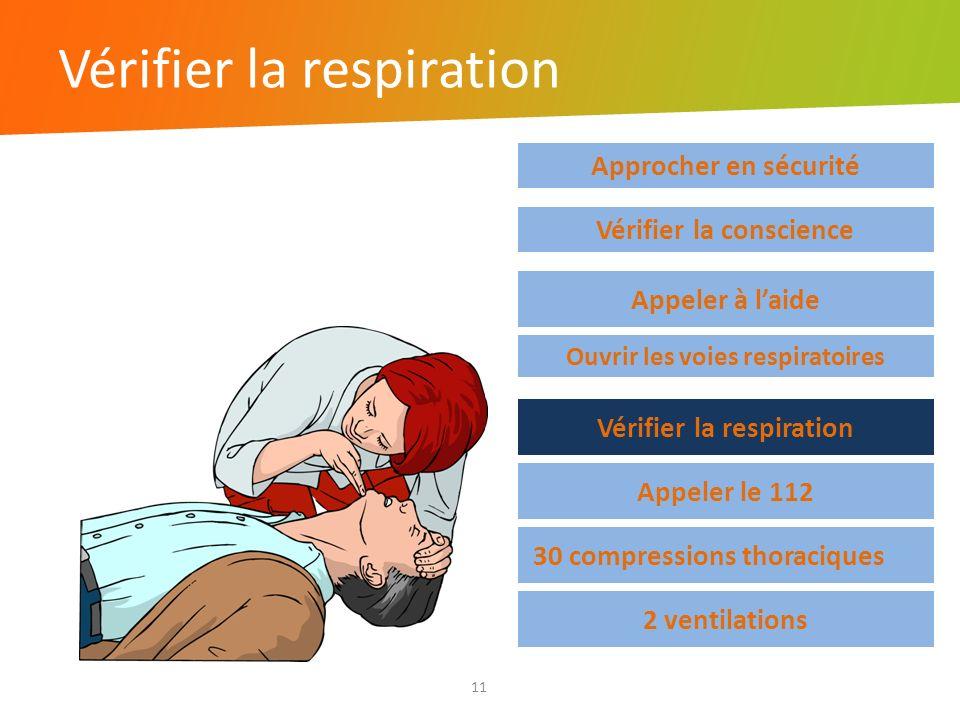 Vérifier la respiration 11 Approcher en sécurité Vérifier la respiration Appeler le 112 30 compressions thoraciques 2 ventilations Vérifier la conscie