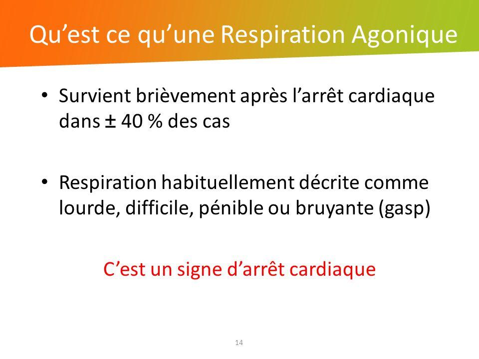 Quest ce quune Respiration Agonique 14 Survient brièvement après larrêt cardiaque dans ± 40 % des cas Respiration habituellement décrite comme lourde,