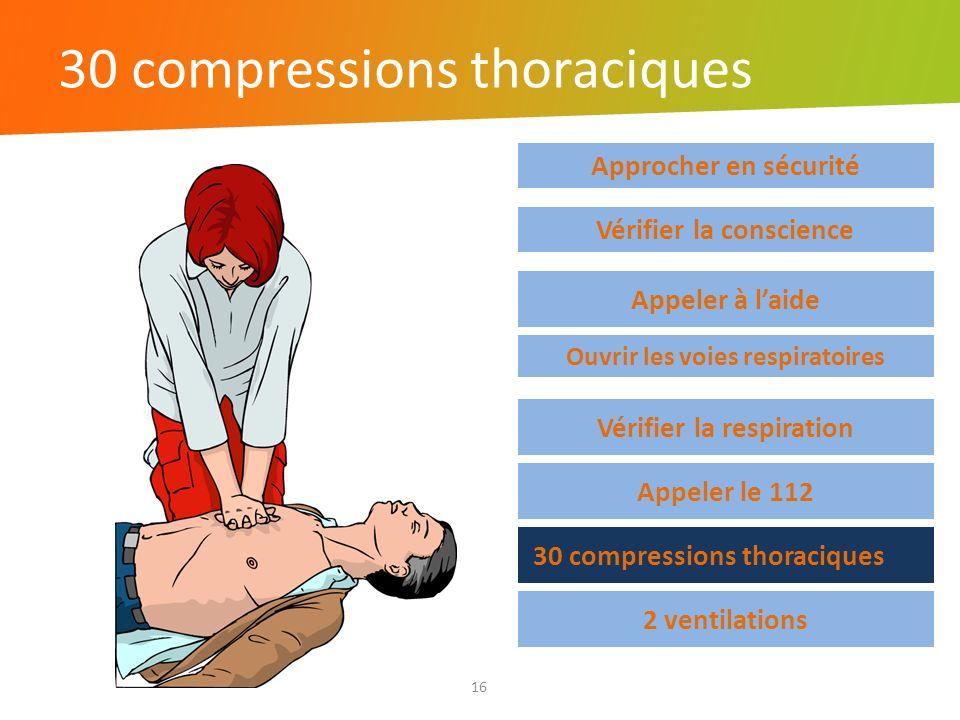 30 compressions thoraciques 16 Approcher en sécurité Vérifier la respiration Appeler le 112 30 compressions thoraciques 2 ventilations Vérifier la con
