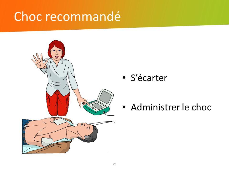 Choc recommandé 29 Sécarter Administrer le choc