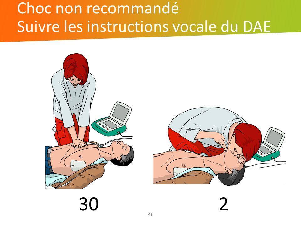 31 30 2 Choc non recommandé Suivre les instructions vocale du DAE