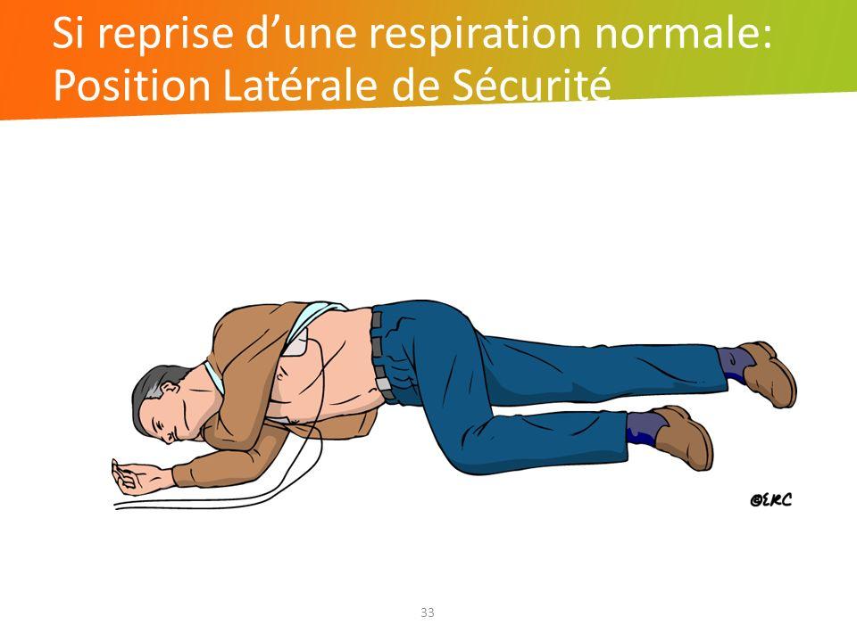 Si reprise dune respiration normale: Position Latérale de Sécurité 33