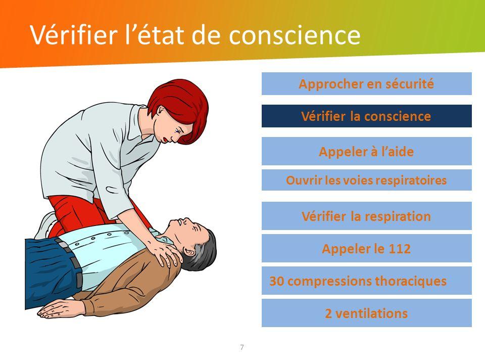 Vérifier létat de conscience 7 Approcher en sécurité Vérifier la respiration Appeler le 112 30 compressions thoraciques 2 ventilations Vérifier la con