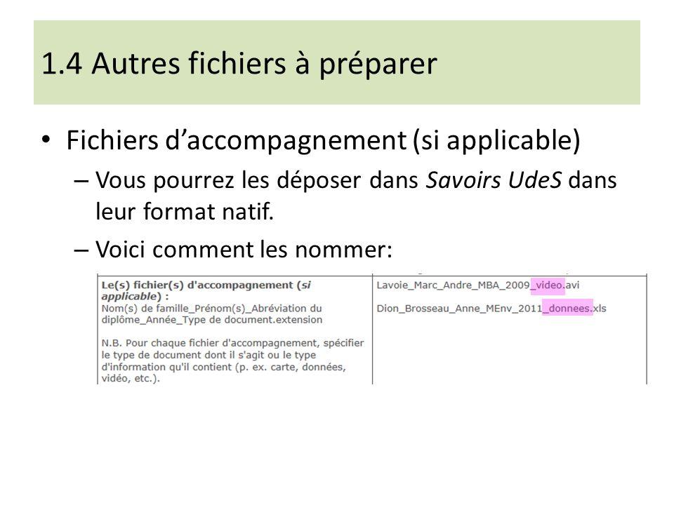 1.4 Autres fichiers à préparer Fichiers daccompagnement (si applicable) – Vous pourrez les déposer dans Savoirs UdeS dans leur format natif.