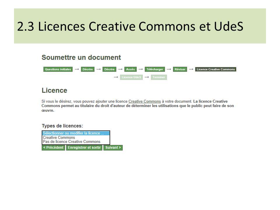 2.3 Licences Creative Commons et UdeS