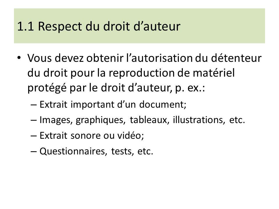 1.1 Respect du droit dauteur Vous devez obtenir lautorisation du détenteur du droit pour la reproduction de matériel protégé par le droit dauteur, p.
