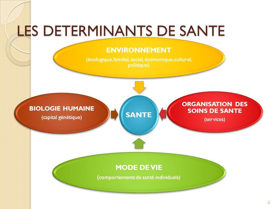 LES DETERMINANTS DE SANTE SANTE ENVIRONNEMENT (écologique, familial, social, économique, culturel, politique) ORGANISATION DES SOINS DE SANTE (services) MODE DE VIE ( comportements de santé individuels) BIOLOGIE HUMAINE (capital génétique) 4