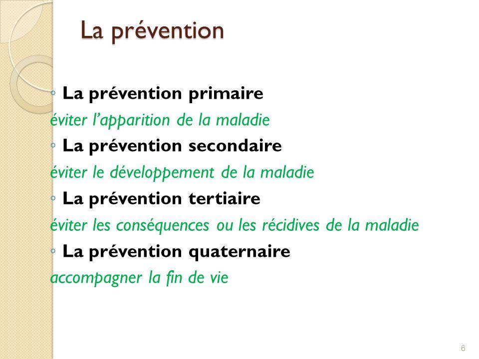 La prévention La prévention primaire éviter lapparition de la maladie La prévention secondaire éviter le développement de la maladie La prévention tertiaire éviter les conséquences ou les récidives de la maladie La prévention quaternaire accompagner la fin de vie 6