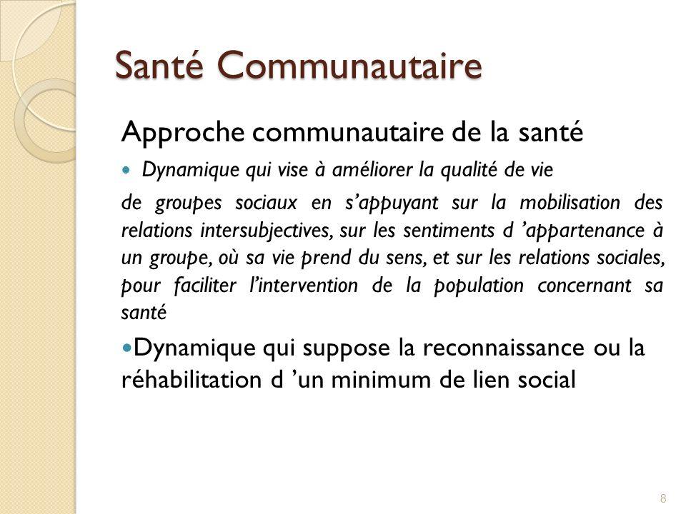 Santé Communautaire Approche communautaire de la santé Dynamique qui vise à améliorer la qualité de vie de groupes sociaux en sappuyant sur la mobilis