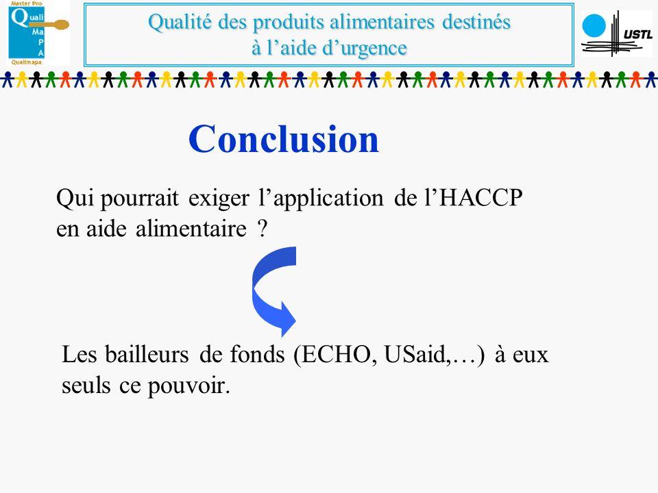 Qualité des produits alimentaires destinés à laide durgence Qui pourrait exiger lapplication de lHACCP en aide alimentaire ? Les bailleurs de fonds (E