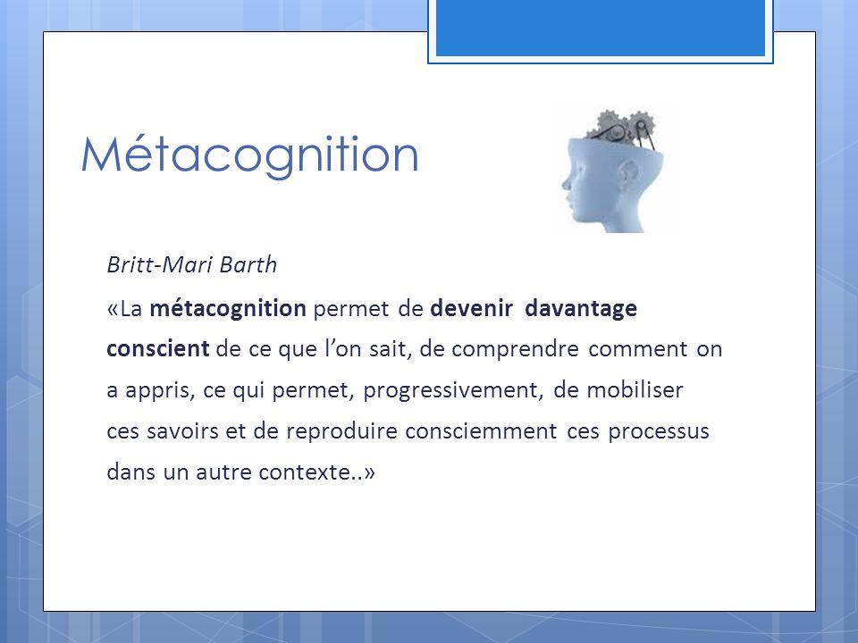 Métacognition Britt-Mari Barth «La métacognition permet de devenir davantage conscient de ce que lon sait, de comprendre comment on a appris, ce qui permet, progressivement, de mobiliser ces savoirs et de reproduire consciemment ces processus dans un autre contexte..»