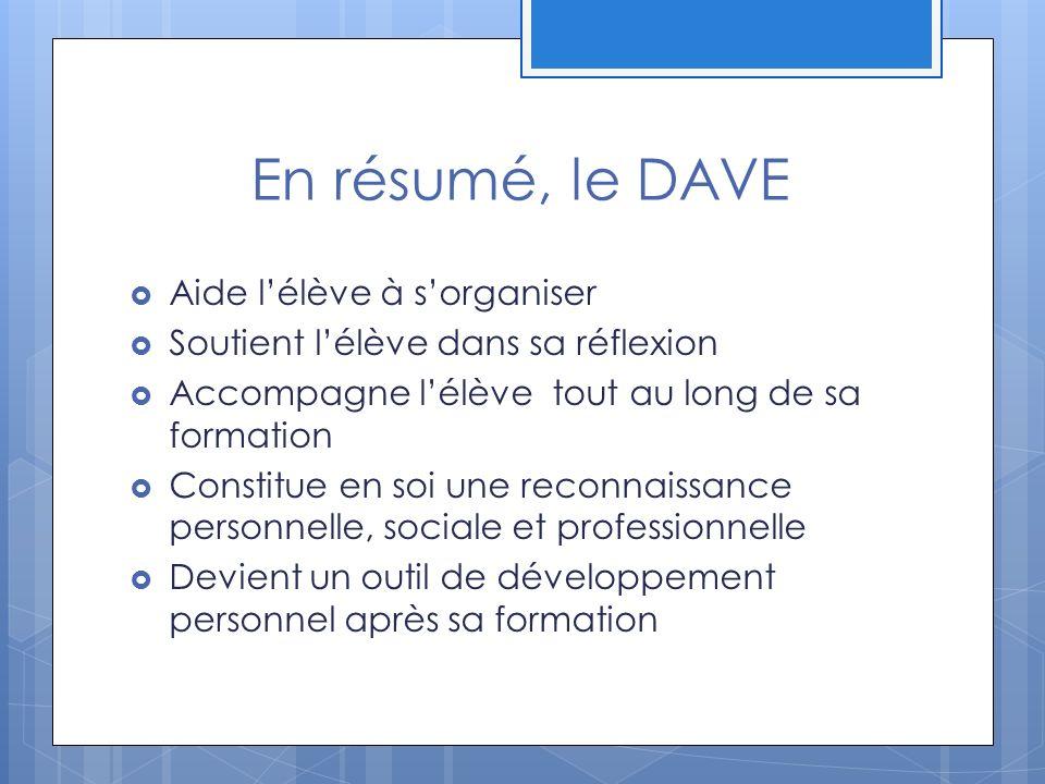 En résumé, le DAVE Aide lélève à sorganiser Soutient lélève dans sa réflexion Accompagne lélève tout au long de sa formation Constitue en soi une reconnaissance personnelle, sociale et professionnelle Devient un outil de développement personnel après sa formation
