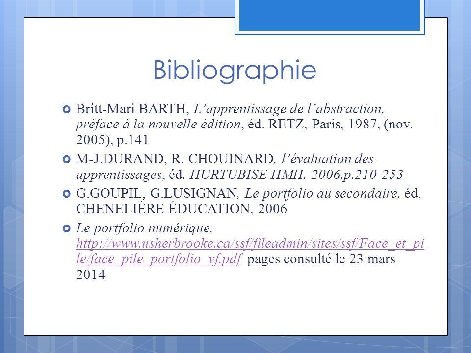 Bibliographie Britt-Mari BARTH, Lapprentissage de labstraction, préface à la nouvelle édition, éd.