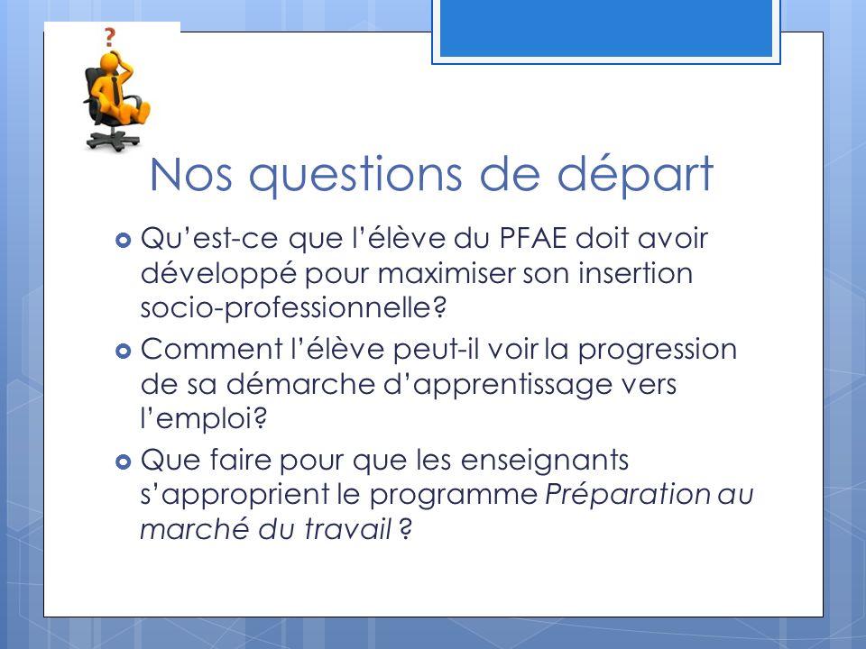Nos questions de départ Quest-ce que lélève du PFAE doit avoir développé pour maximiser son insertion socio-professionnelle.
