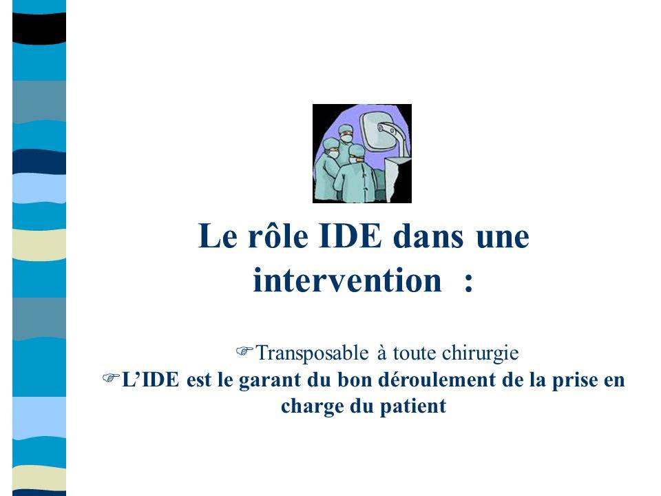 Le rôle IDE dans une intervention : Transposable à toute chirurgie LIDE est le garant du bon déroulement de la prise en charge du patient