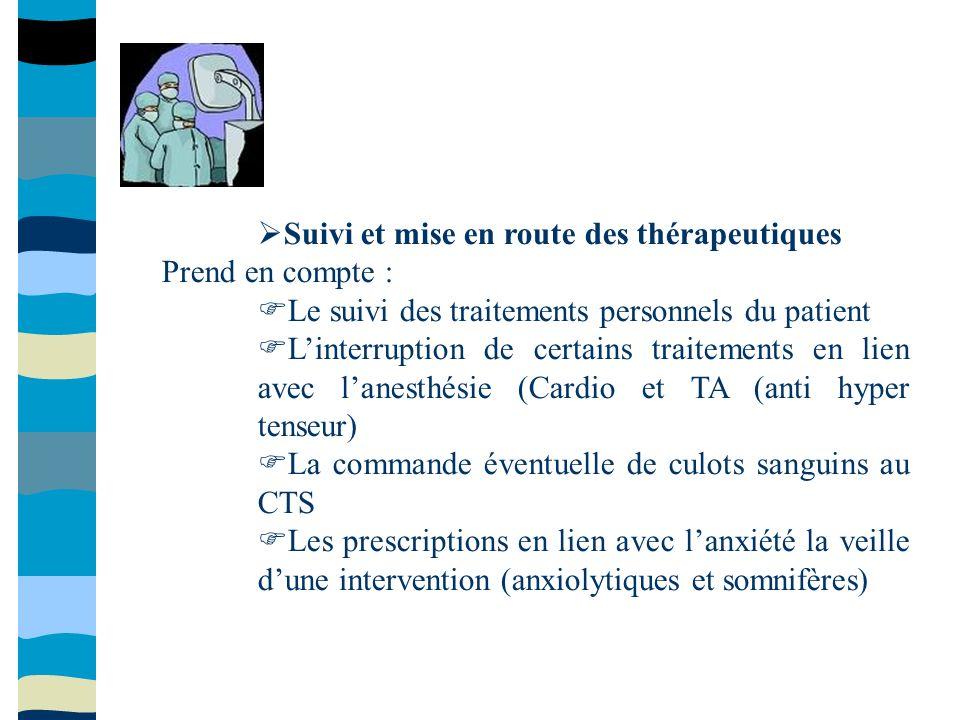 Suivi et mise en route des thérapeutiques Prend en compte : Le suivi des traitements personnels du patient Linterruption de certains traitements en li