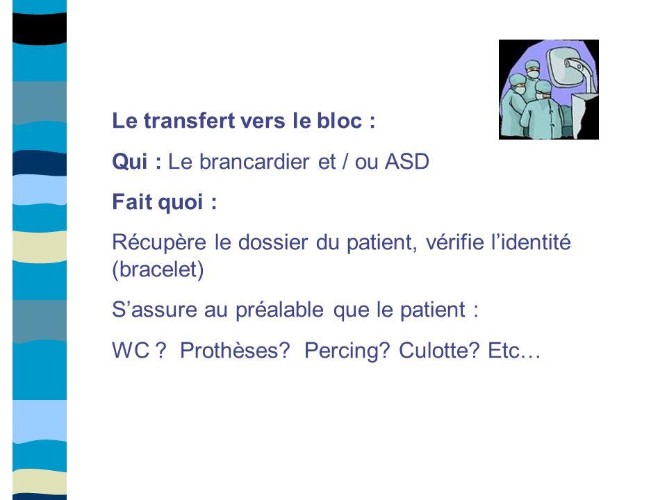 Le transfert vers le bloc : Qui : Le brancardier et / ou ASD Fait quoi : Récupère le dossier du patient, vérifie lidentité (bracelet) Sassure au préal