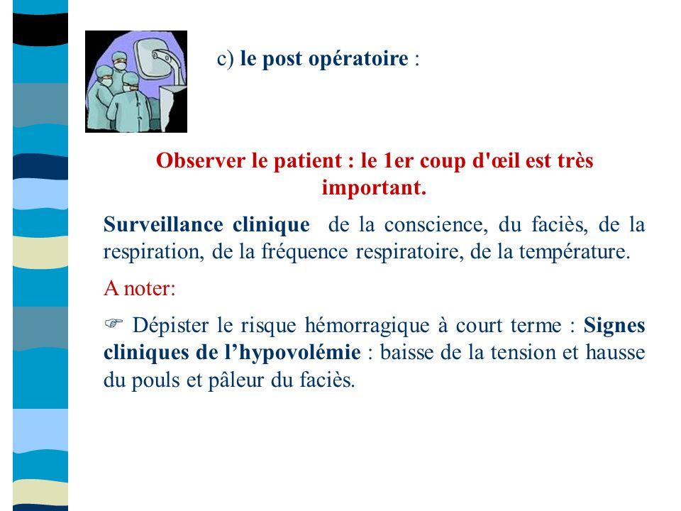 c) le post opératoire : Observer le patient : le 1er coup d'œil est très important. Surveillance clinique de la conscience, du faciès, de la respirati