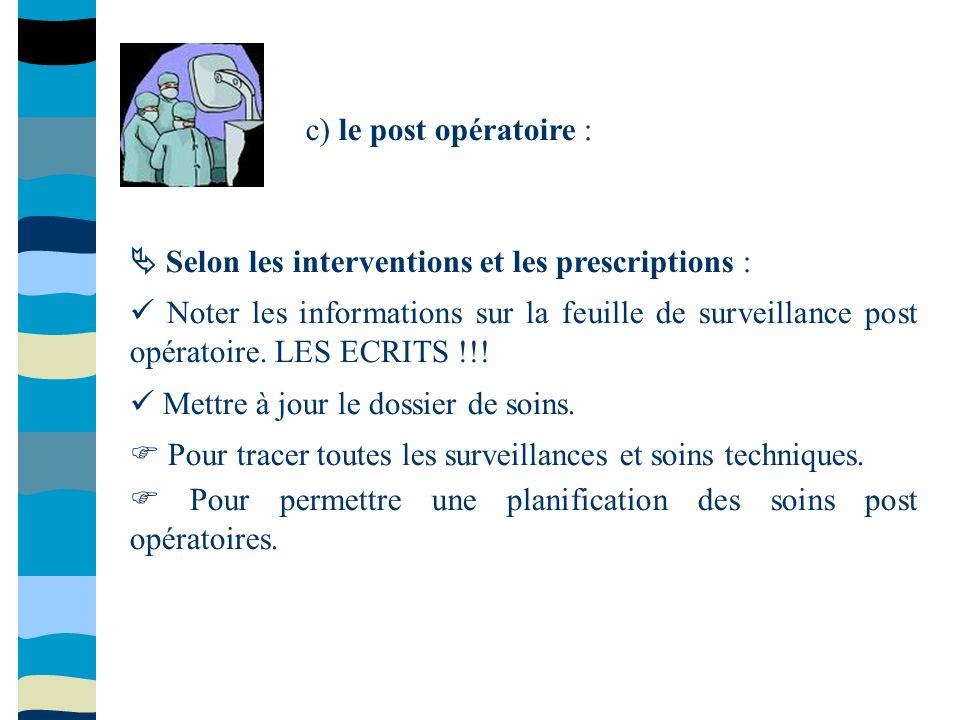 c) le post opératoire : Selon les interventions et les prescriptions : Noter les informations sur la feuille de surveillance post opératoire. LES ECRI
