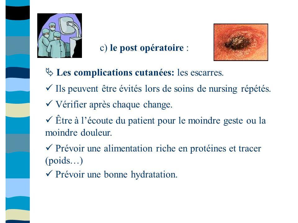 c) le post opératoire : Les complications cutanées: les escarres. Ils peuvent être évités lors de soins de nursing répétés. Vérifier après chaque chan