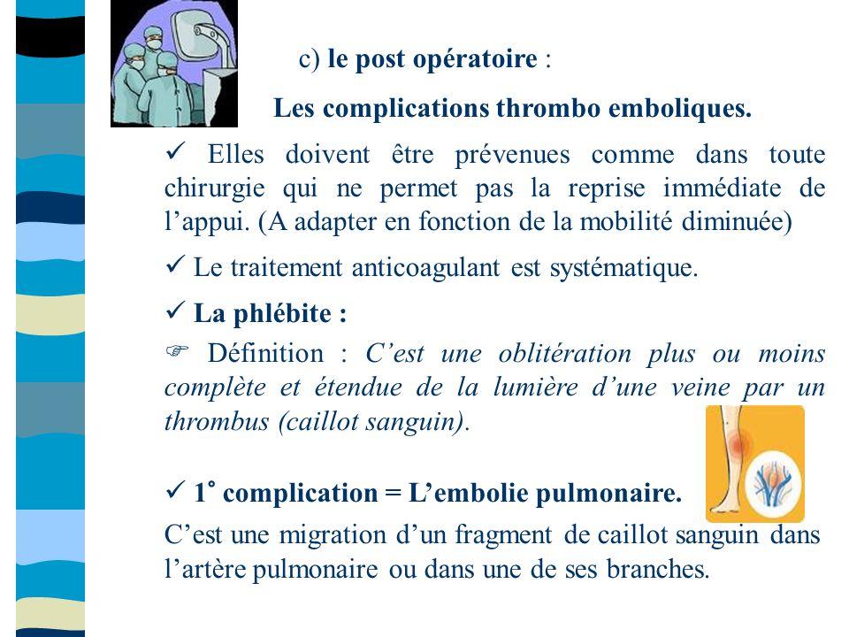 c) le post opératoire : Les complications thrombo emboliques. Elles doivent être prévenues comme dans toute chirurgie qui ne permet pas la reprise imm