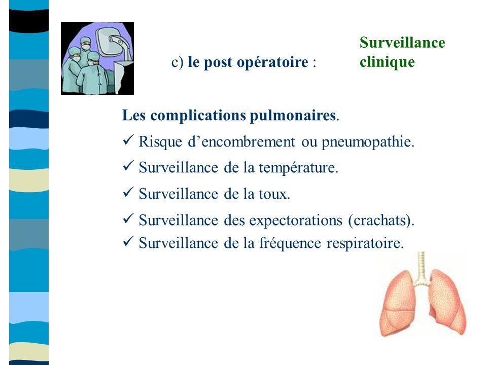 c) le post opératoire : Les complications pulmonaires. Risque dencombrement ou pneumopathie. Surveillance de la température. Surveillance de la toux.