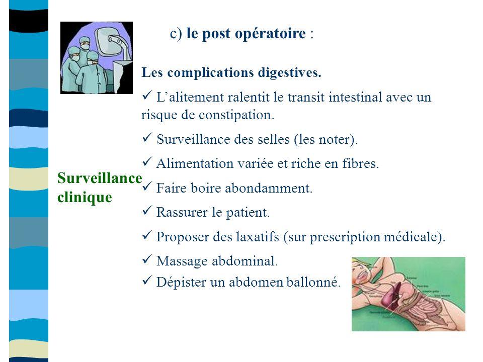 c) le post opératoire : Les complications digestives. Lalitement ralentit le transit intestinal avec un risque de constipation. Surveillance des selle