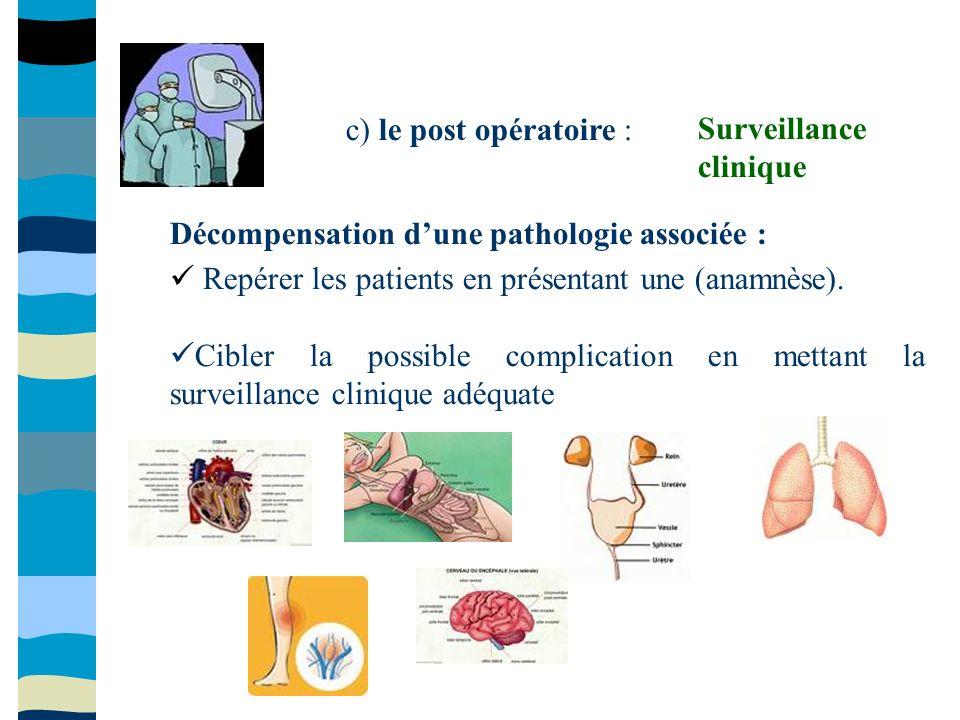 c) le post opératoire : Décompensation dune pathologie associée : Repérer les patients en présentant une (anamnèse). Cibler la possible complication e