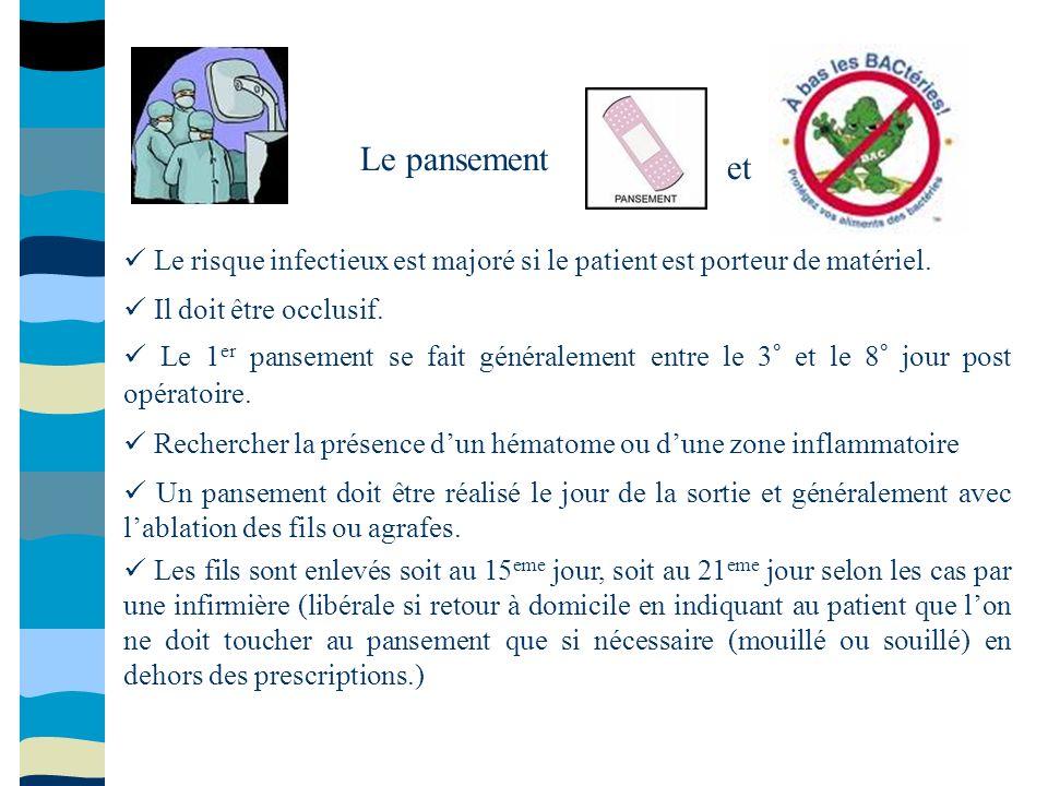 Le pansement et Le risque infectieux est majoré si le patient est porteur de matériel. Il doit être occlusif. Le 1 er pansement se fait généralement e