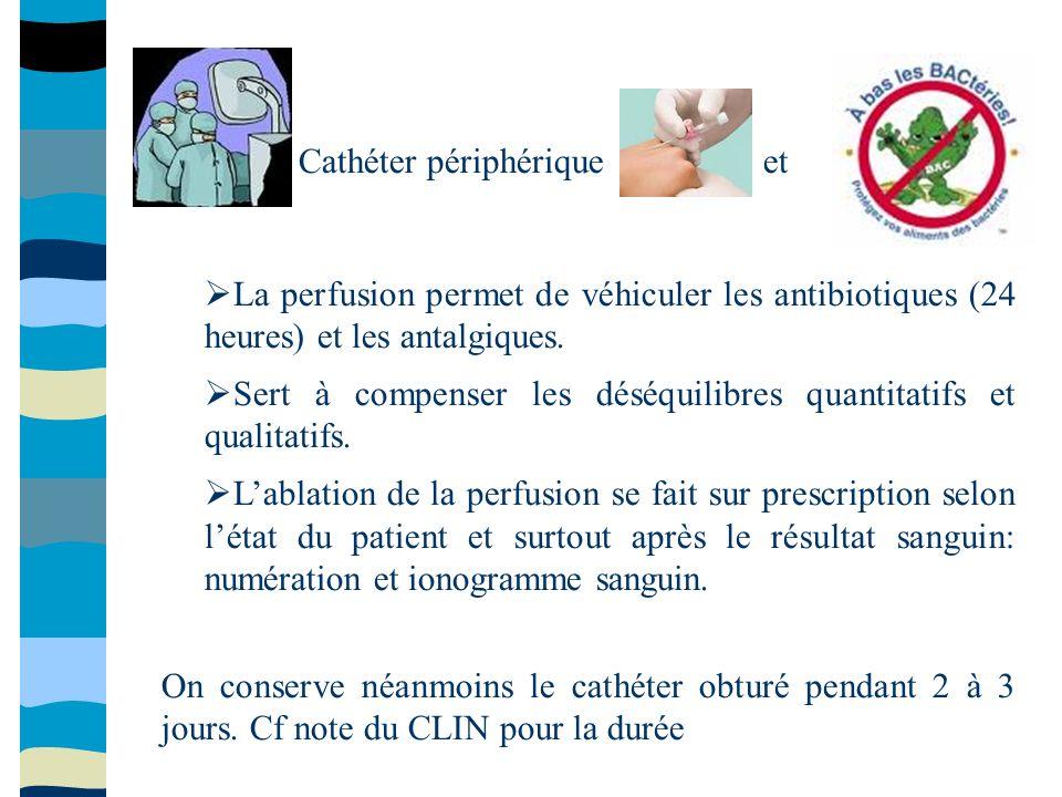 Cathéter périphériqueet La perfusion permet de véhiculer les antibiotiques (24 heures) et les antalgiques. Sert à compenser les déséquilibres quantita