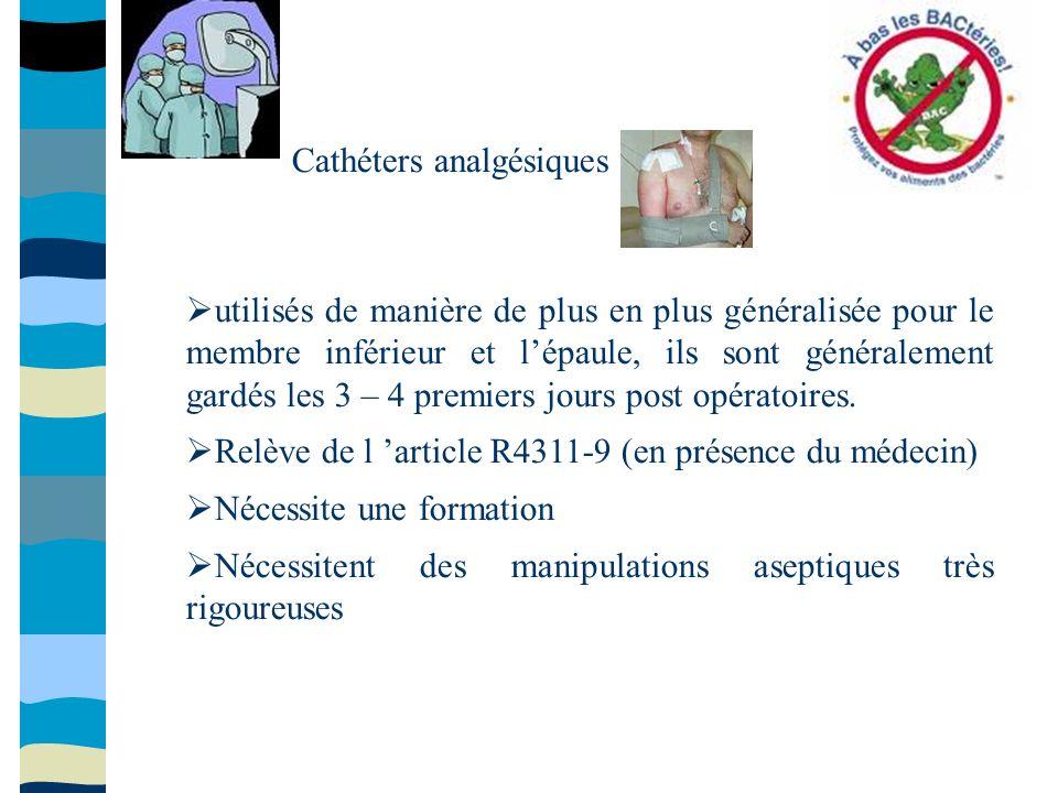 Cathéters analgésiques utilisés de manière de plus en plus généralisée pour le membre inférieur et lépaule, ils sont généralement gardés les 3 – 4 pre