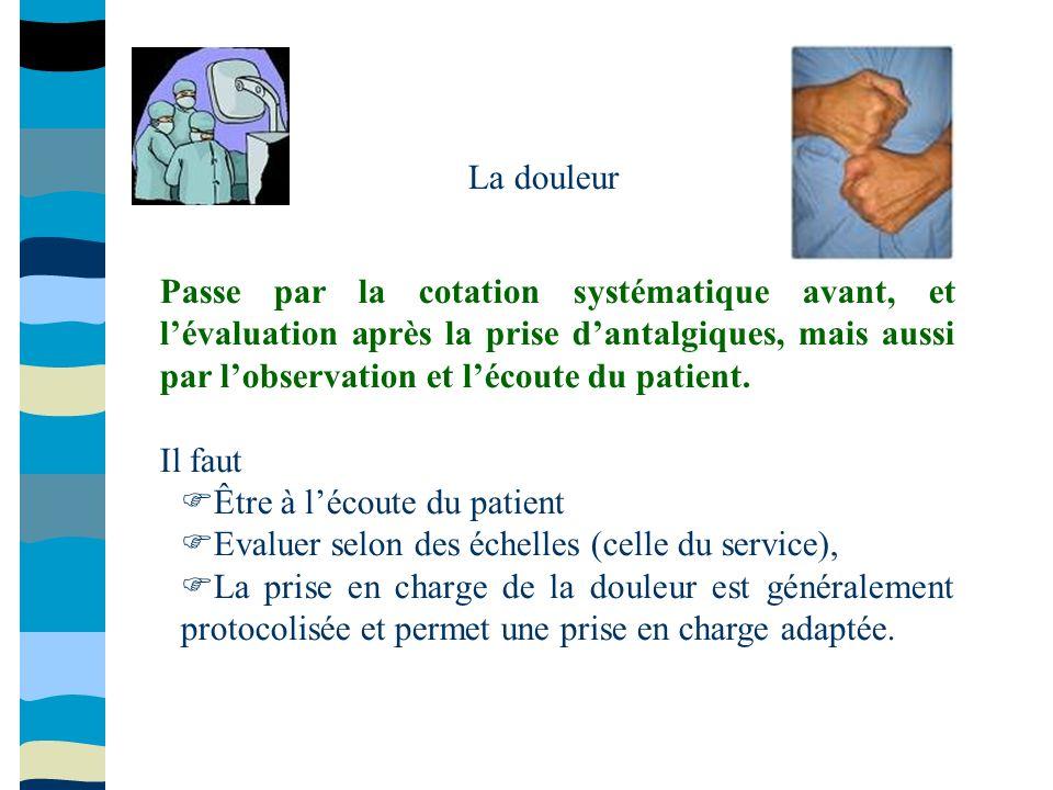 La douleur Passe par la cotation systématique avant, et lévaluation après la prise dantalgiques, mais aussi par lobservation et lécoute du patient. Il