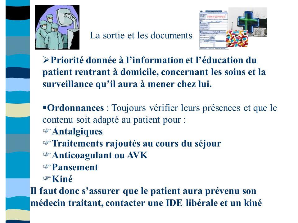 La sortie et les documents Priorité donnée à linformation et léducation du patient rentrant à domicile, concernant les soins et la surveillance quil a