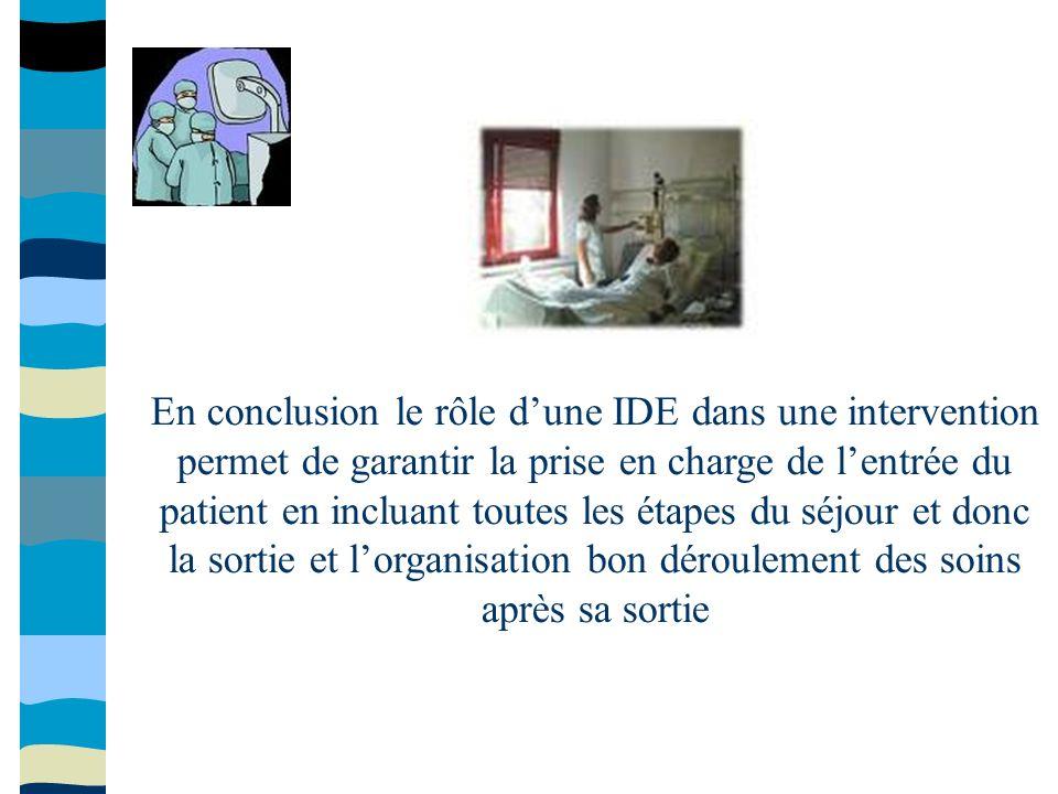 En conclusion le rôle dune IDE dans une intervention permet de garantir la prise en charge de lentrée du patient en incluant toutes les étapes du séjo
