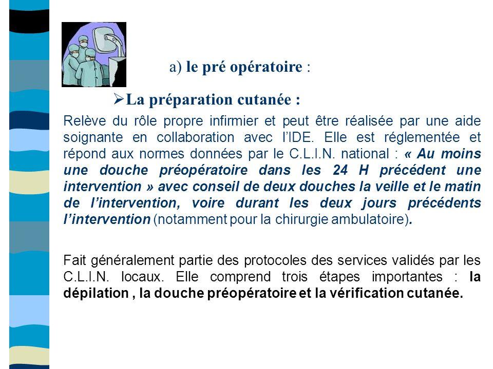 a) le pré opératoire : La préparation cutanée : Relève du rôle propre infirmier et peut être réalisée par une aide soignante en collaboration avec lID