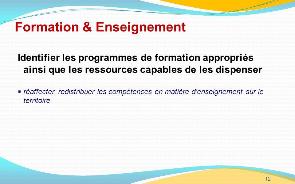 12 Formation & Enseignement Identifier les programmes de formation appropriés ainsi que les ressources capables de les dispenser réaffecter, redistribuer les compétences en matière denseignement sur le territoire