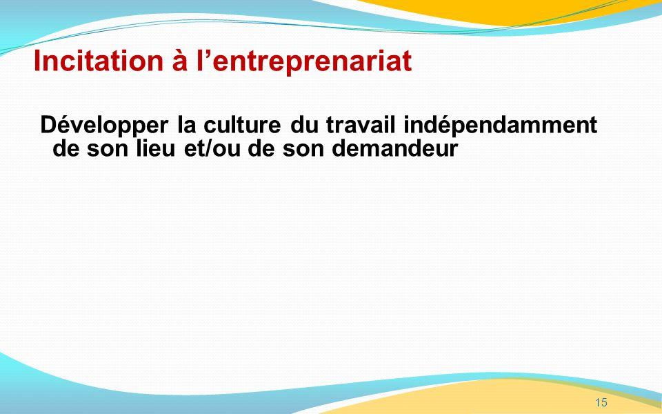 15 Incitation à lentreprenariat Développer la culture du travail indépendamment de son lieu et/ou de son demandeur