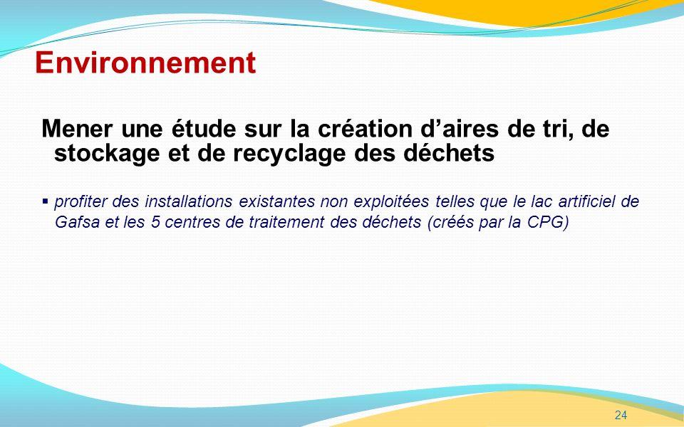 24 Environnement Mener une étude sur la création daires de tri, de stockage et de recyclage des déchets profiter des installations existantes non exploitées telles que le lac artificiel de Gafsa et les 5 centres de traitement des déchets (créés par la CPG)