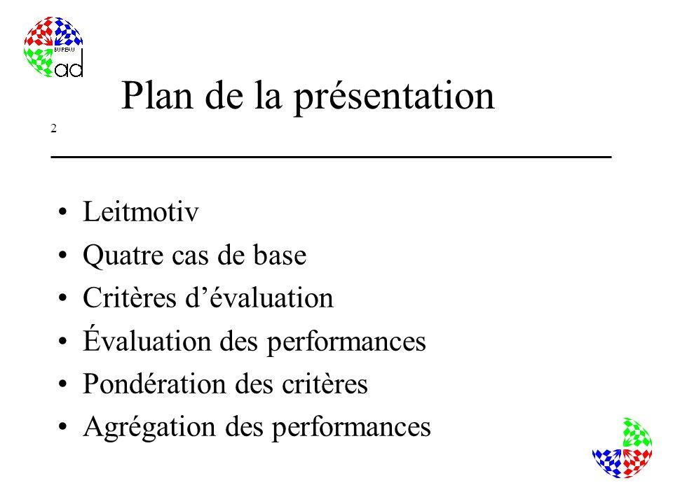 2 Plan de la présentation Leitmotiv Quatre cas de base Critères dévaluation Évaluation des performances Pondération des critères Agrégation des performances