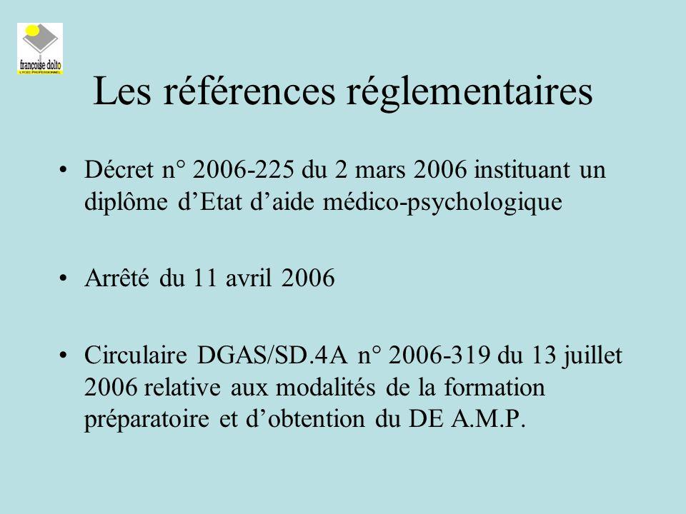 Les références réglementaires Décret n° 2006-225 du 2 mars 2006 instituant un diplôme dEtat daide médico-psychologique Arrêté du 11 avril 2006 Circulaire DGAS/SD.4A n° 2006-319 du 13 juillet 2006 relative aux modalités de la formation préparatoire et dobtention du DE A.M.P.