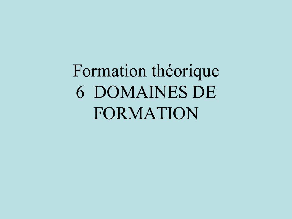 Formation théorique 6 DOMAINES DE FORMATION