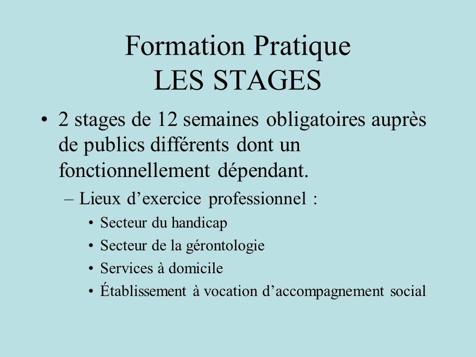 Formation Pratique LES STAGES 2 stages de 12 semaines obligatoires auprès de publics différents dont un fonctionnellement dépendant.