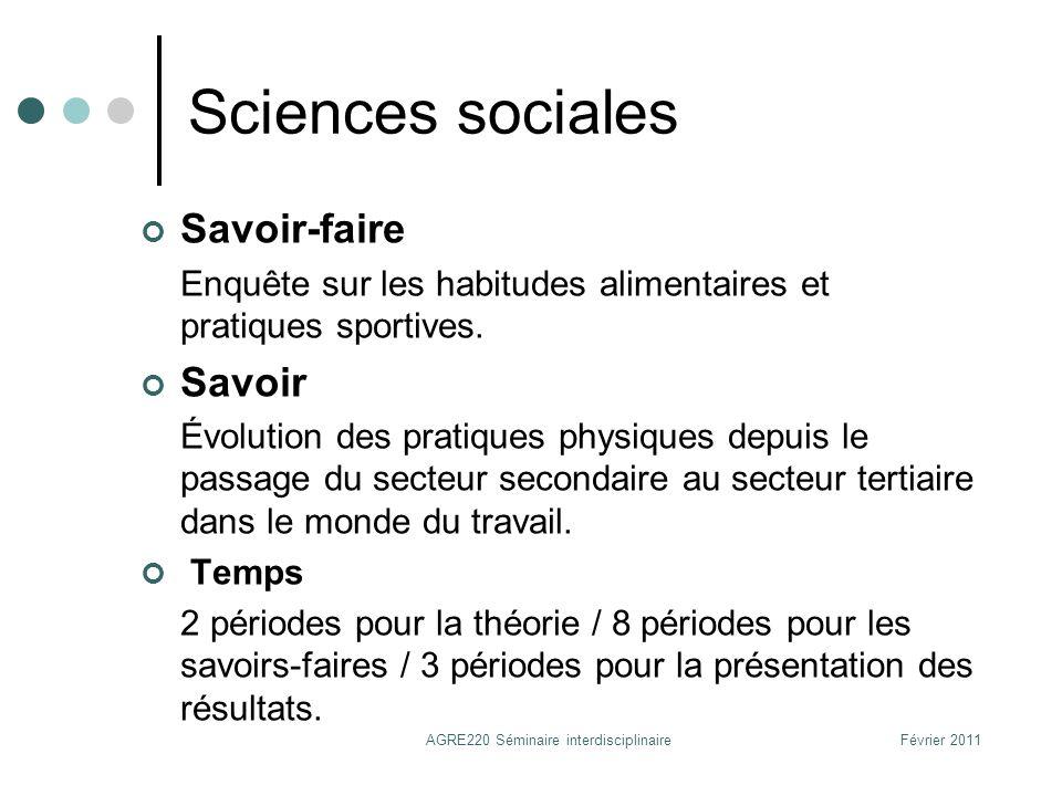 Sciences sociales Savoir-faire Enquête sur les habitudes alimentaires et pratiques sportives. Savoir Évolution des pratiques physiques depuis le passa