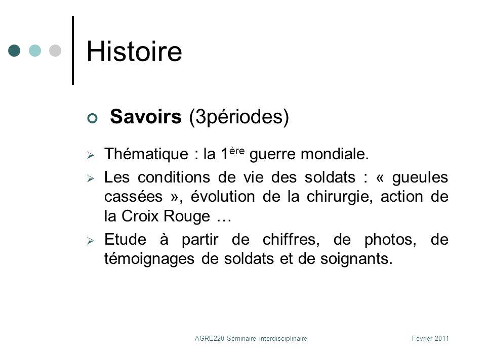 Histoire Savoirs (3périodes) Thématique : la 1 ère guerre mondiale. Les conditions de vie des soldats : « gueules cassées », évolution de la chirurgie