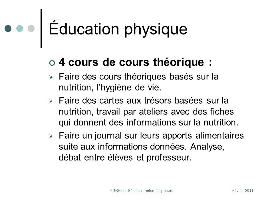 Éducation physique 4 cours de cours théorique : Faire des cours théoriques basés sur la nutrition, lhygiène de vie. Faire des cartes aux trésors basée