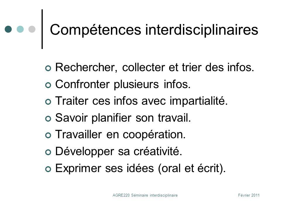 Compétences interdisciplinaires Rechercher, collecter et trier des infos. Confronter plusieurs infos. Traiter ces infos avec impartialité. Savoir plan