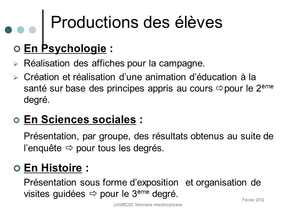 Février 2012 LAGRE220 Séminaire interdisciplinaire Productions des élèves En Psychologie : Réalisation des affiches pour la campagne. Création et réal