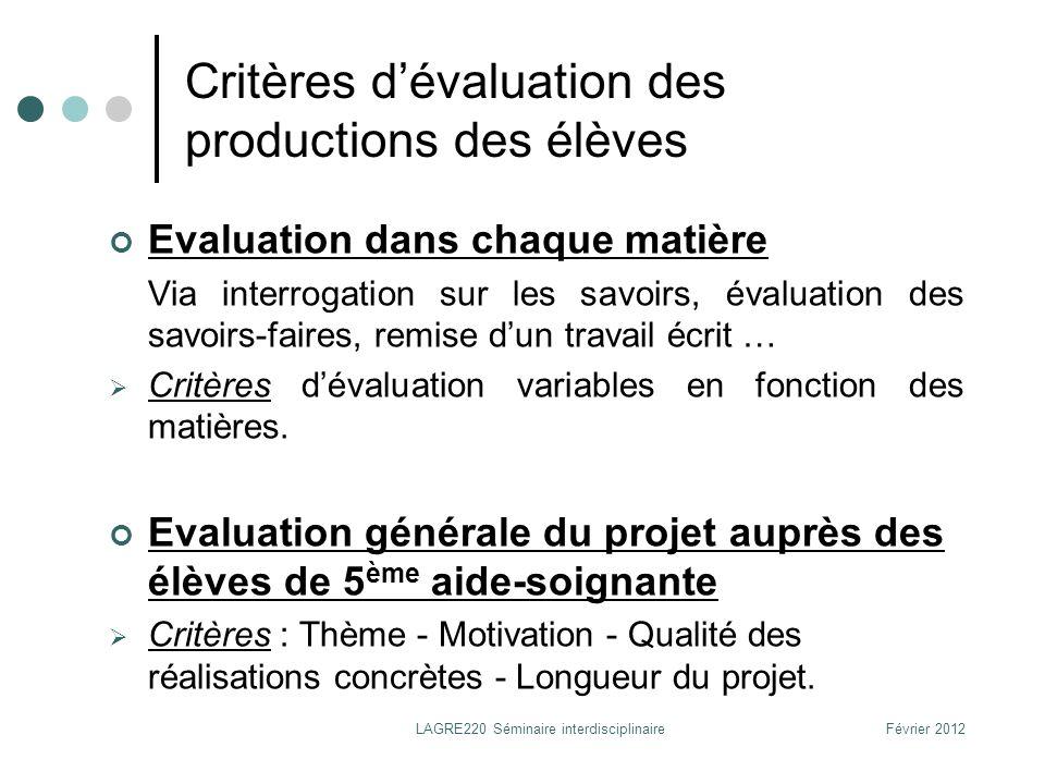 Février 2012LAGRE220 Séminaire interdisciplinaire Critères dévaluation des productions des élèves Evaluation dans chaque matière Via interrogation sur