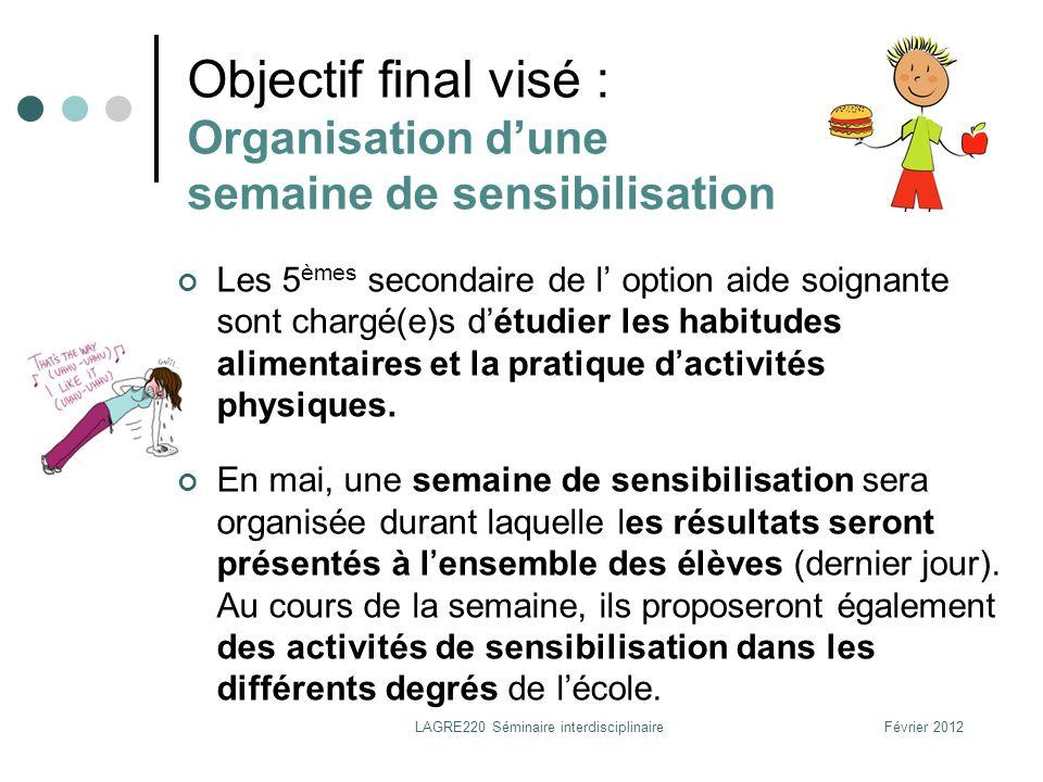 Février 2012LAGRE220 Séminaire interdisciplinaire Objectif final visé : Organisation dune semaine de sensibilisation Les 5 èmes secondaire de l option